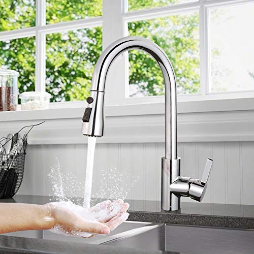 Küchenarmatur, TACKLIFE DAKF6F 360° Drehbar Wasserhahn Küche aus Edelstahl, Einhand- Spültischbatterie mit Herausziehbare Dualbrause, Hohe Bogenauslauf, 100% Bleifrei und Nickelfrei, Spültischarmatur
