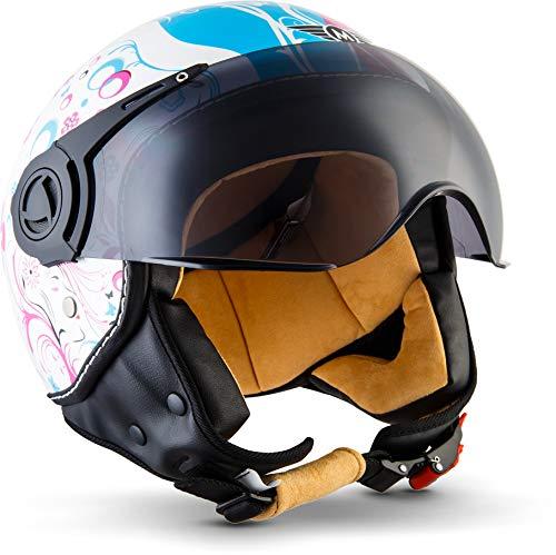 "MOTOHelmets® H44 ""Flower"" · Jet-Helm · Motorrad-Helm Roller-Helm Scooter-Helm Bobber Mofa-Helm Chopper Retro Cruiser Vintage Pilot Biker Helmet · ECE Visier Schnellverschluss Tasche M (57-58cm)"