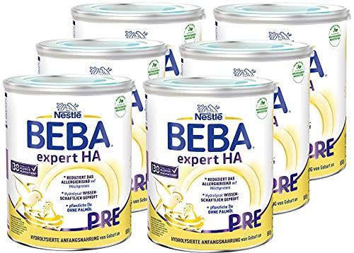 Nestlé BEBA EXPERT HA PRE Hydrolysierte Anfangsnahrung für Babys mit Allergie-Risiko, Baby-Milchpulver von Geburt an, 6er Pack (6 x 800g)