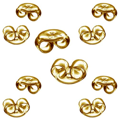 My-Bead 5 Paar Ohrring Verschlüsse Pousetten 4.5mm 925 Silber 24K doppelt vergoldet nickelfrei Ohrmuttern Gold DIY