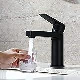 DUTRIX Waschtischarmatur, Wasserhahn Bad Schwarz, Einhebelmischer für Badezimmer Waschtisch, Bad Mischbatterie, Badezimmer Wasserhahn Waschbecken-Armatur