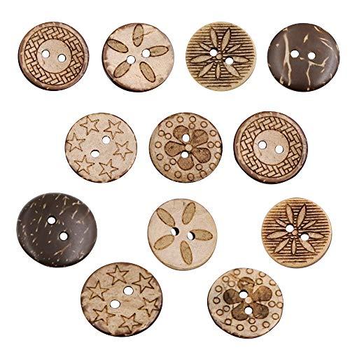 Aweisile kokosknöpfe knöpfe 100 Stück Gemischt Holzknöpfe Knöpfe Holz 2 Löcher Vintage Runde Knöpfe 18mm Holzknopf für Nähen Handwerk,knöpfe für Scrapbooking DIY Basteln Nähen