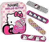 alles-meine.de GmbH Pflasterset -  Hello Kitty  - 20 Stück wasserfeste Pflaster - incl. Name - in Metall Box - Pflasterbox Dose bunt Kinderpflaster - Katze / Kätzchen - Tiere -..